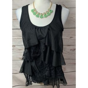 NWOT Eyeshadow Black Lace Tiered Ruffled Tank Top